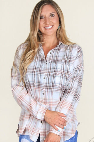 Audrey's Acid-wash Button-down plaid