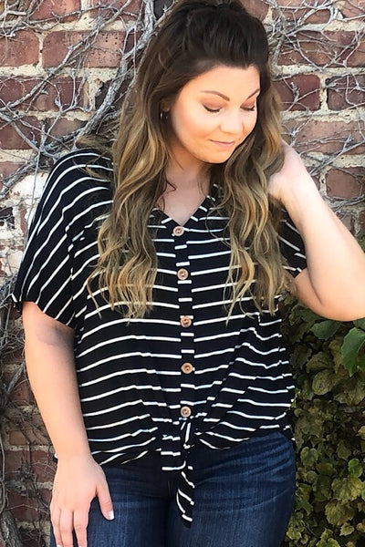 Sarah - Drop Shoulder Striped Top - Black & White