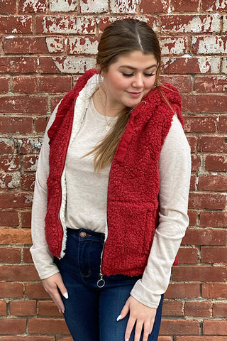 Shelia - Faux Sherpa Teddy Fleece Piled Vest - Rust (S-L)