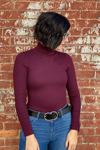 Deb - Fine Yarn Long Sleeve Body Suit - Wine (S-XL)