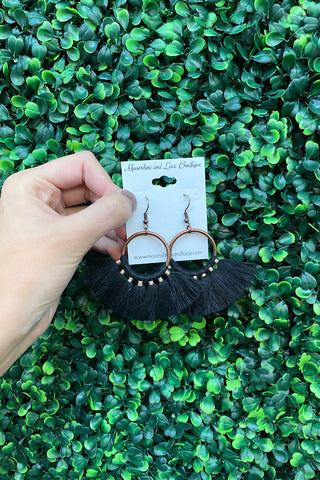 Boho Fringe Earrings- Black