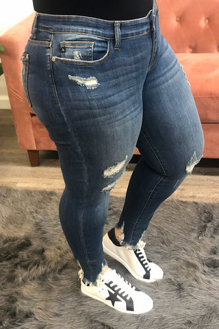 Jada Judy Blue Destroyed Hem Skinny Jean
