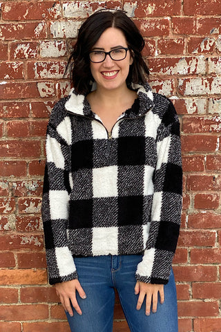 Heather - Plaid Sherpa Half-Zip Pullover - Black and White (S-XL)