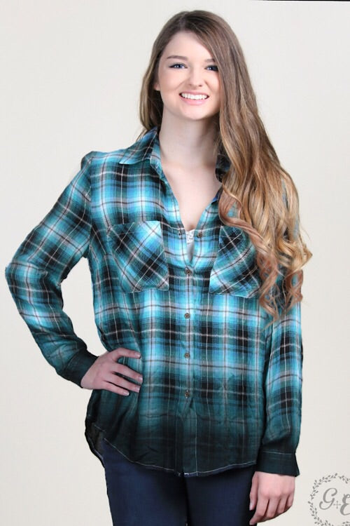 Jordyn''s Dip-Dyed Button-down Plaid - Teal & Black