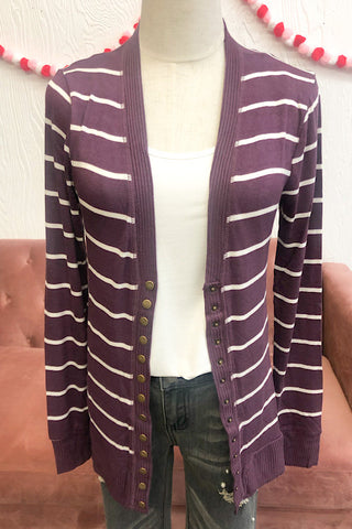 Ella Striped Cardigan- Eggplant