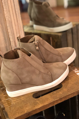 Zoey-Wedge Sneaker-Taupe