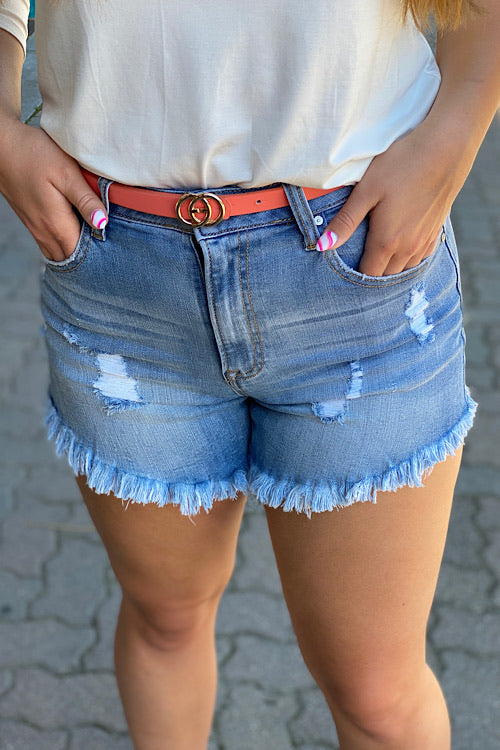 Gretchen - High Waist Frayed Hem Denim Shorts - Light Wash (S-L)