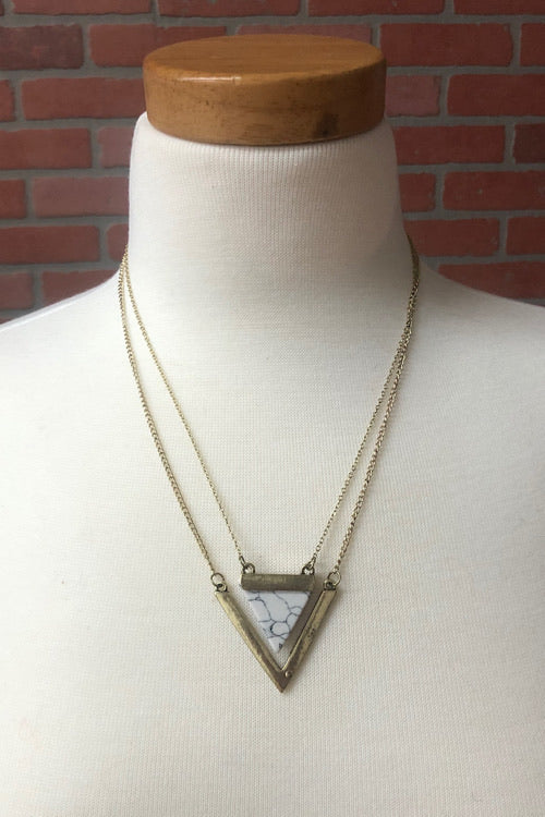 Double Triangle and Stone Necklace