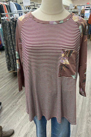 Stephanie- Striped Top with floral sleeves- Burgundy (S-L)