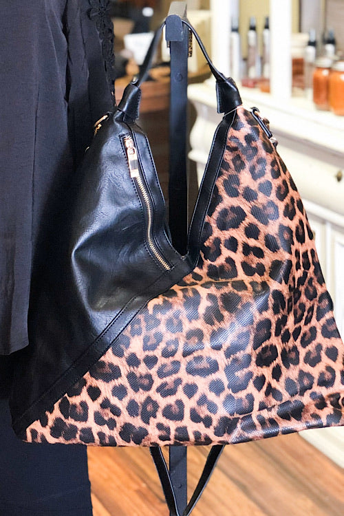 Lucy- Leopard Two Tone Hobo Bag