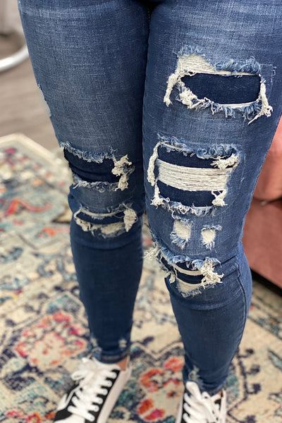 Addison - Judy Blue Patched Destroyed Skinny Jeans - Medium