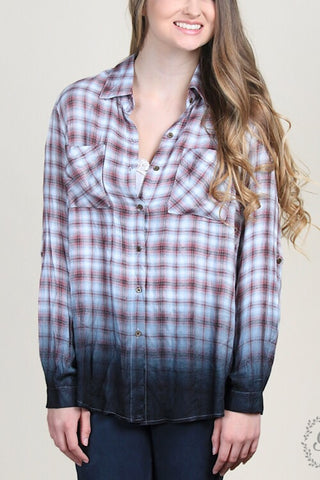 Nora's Dip-Dyed Button-down Plaid - Mint & Mauve