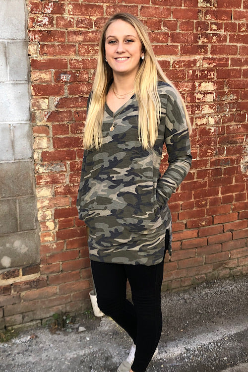 Callie- Camo Long Terry Sweatshirt