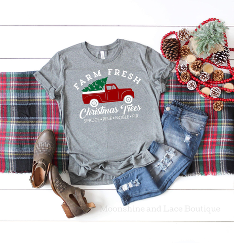 Little Red Truck Christmas Tee