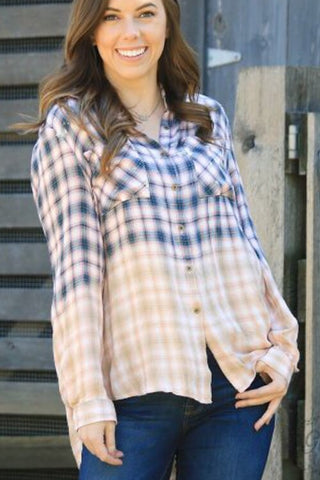 Leila's Acid-wash Button-Down Plaid - Navy & Coral