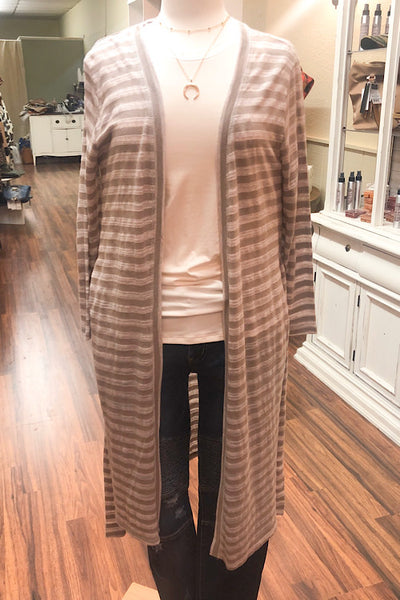 Brooke Striped Duster Cardigan - Herb