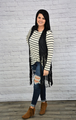 Jailhouse Rock - Long Sleeve Striped Top with Knot