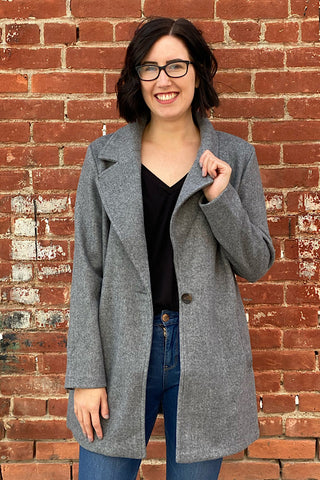 Joana - Fleece Single Breasted Coat - Grey (S-XL)