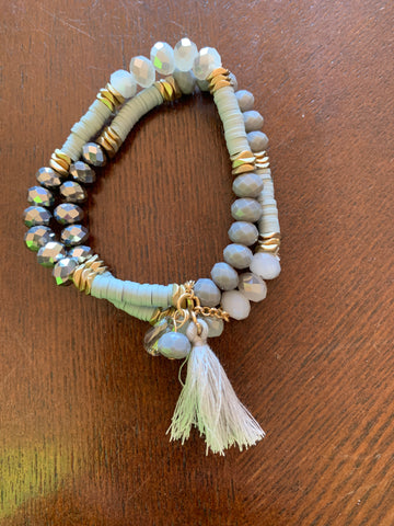 Double Beaded Bracelet with Tassel - Grey