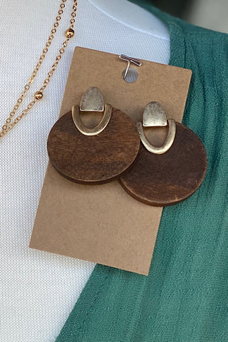 Sold Wood Earrings with Gold Insert