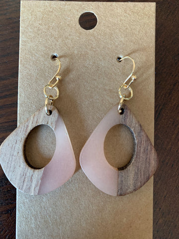 Wood and Acrylic Earrings - Pink