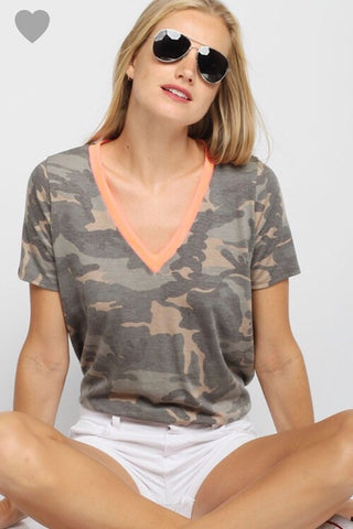 Camo and Neon Coral Top