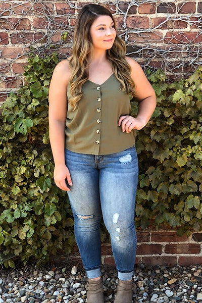 Samantha Olive Button Tank