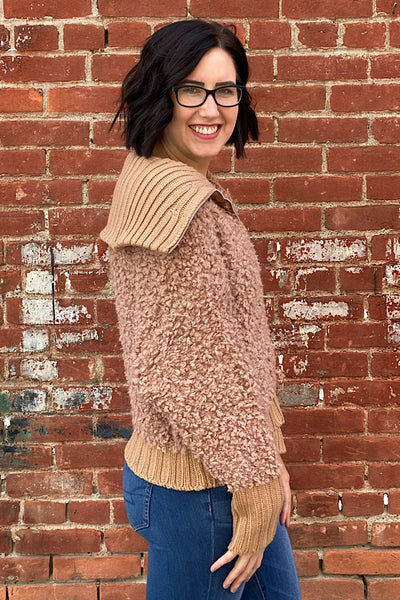 Roxanne - Teddy Yarn Sweater Jacket - Carmel (S-XL)