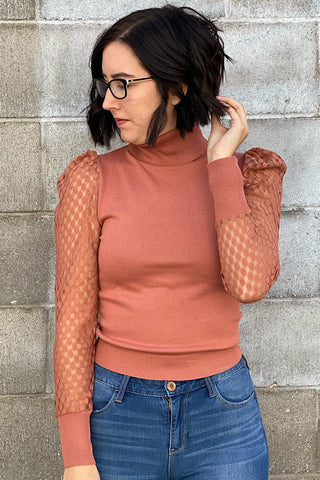 Charity - Puff Long Sleeve Turtle Neck Knit Top - Terra Cotta