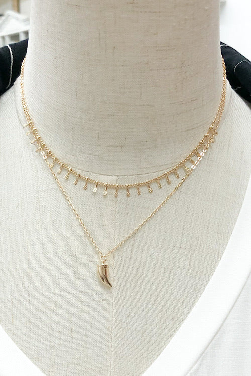 Long Layer Gold Tooth Necklace