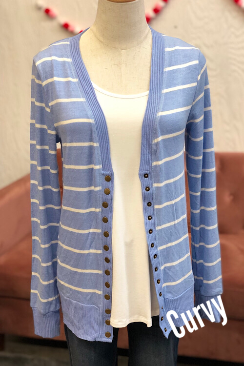 Ella Striped Cardigan- Spring Blue CURVY