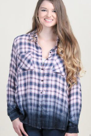 Nora's Dip-Dyed Button-down Plaid - Navy & Coral