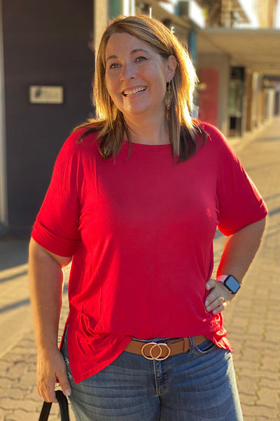 Jodie - Rolled Short Sleeve Top - Red (1XL-3XL)