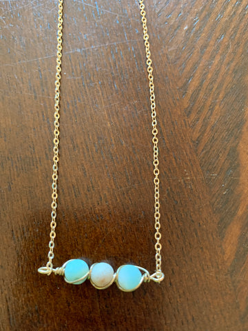 Necklace with 3 Bead Bar - Color
