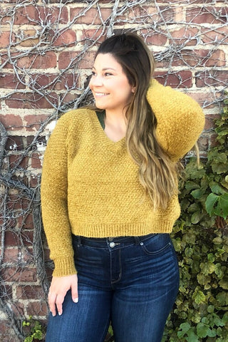 Lydia - Fuzzy Chenille Cropped Sweater - Mustard