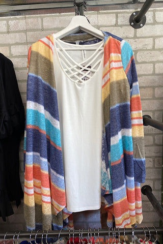 Phoebe - Striped Asymmetric Hem Cardigan