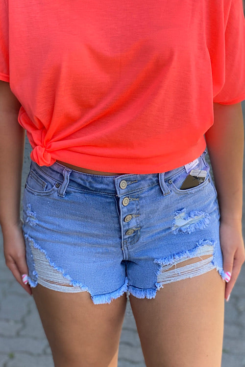 Carrie - Button Fly Distressed Denim Shorts - Light Wash (1-11)