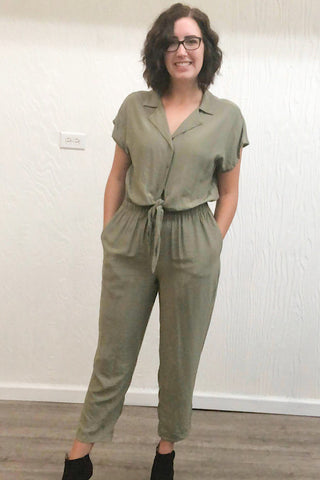 Everly -Short Sleeve Jumpsuit - Olive (S-L)