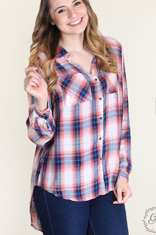 Makayla's Button- Down Plaid - Coral & Navy