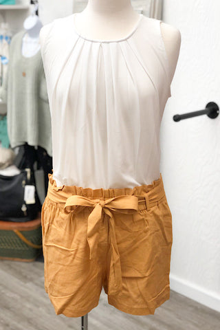 Betty - Linen Paperbag Shorts - Mustard (S-L)