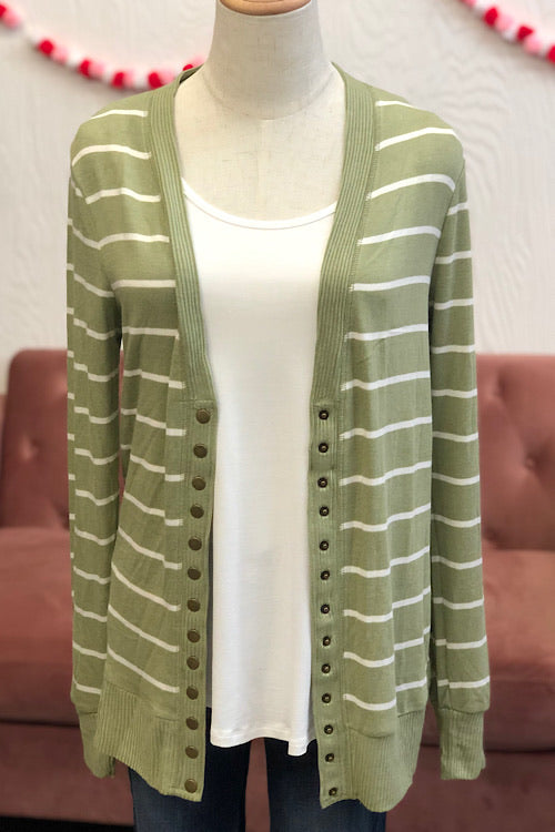 Ella Striped Cardigan- Sage