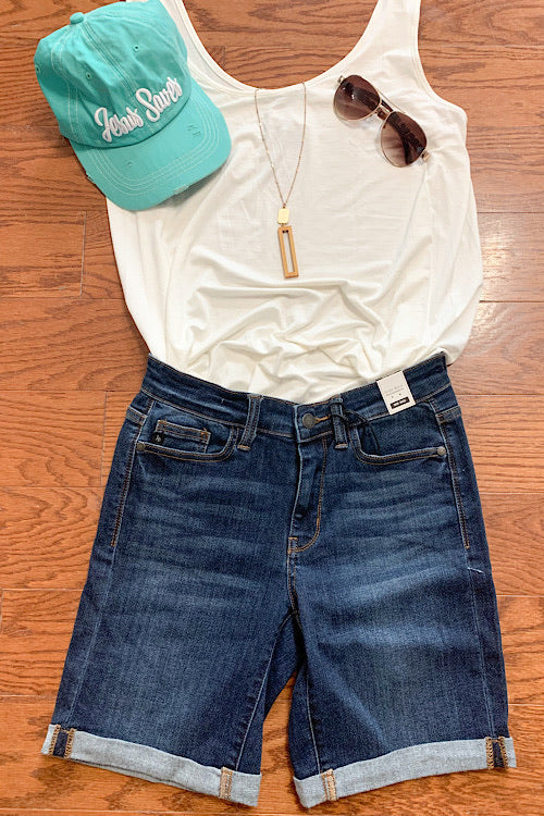 Angie - Judy Blue Cuffed Bermuda Jean Shorts - Dark Wash