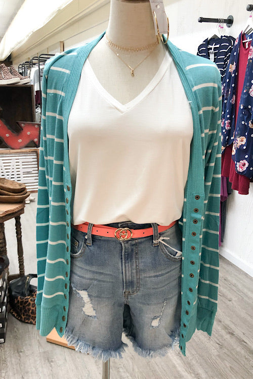 Ella Striped Cardigan- Ash Mint CURVY
