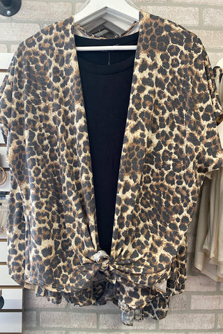 Goldie - Animal Print Short Sleeve Front Tie Cardigan (S-3XL)