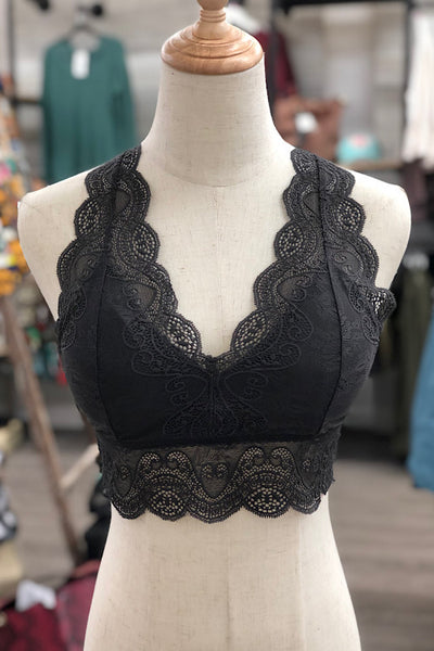 Lace V-Neck Hourglass Back Bralette