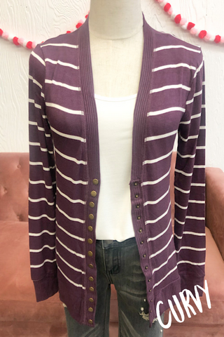 Ella Striped Cardigan- Eggplant CURVY