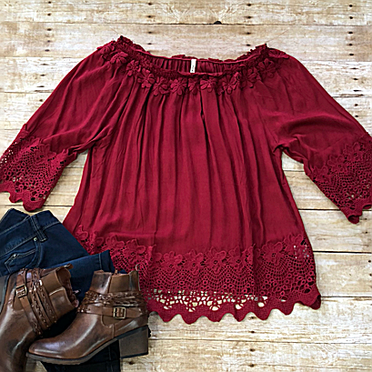Crochet Trim Blouse - Burgundy-Tops/Tunics-Moonshine and Lace Boutique