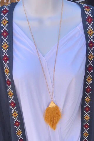 Necklace  - Fine Thread Tassel - Mustard