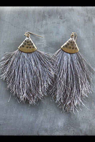 Earrings - Fine Thread Tassel - Gray