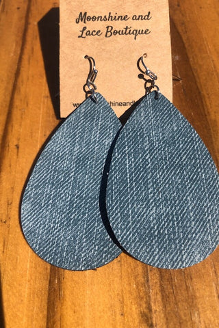 Leather Earrings - Denim Leather Teardrop